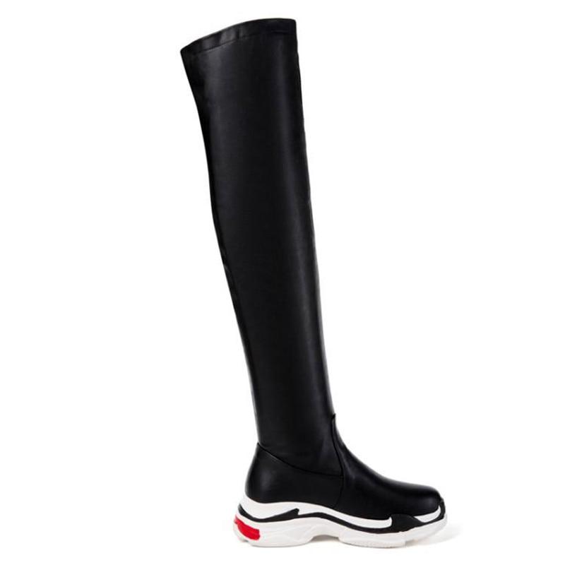Cuisse Tendance Casual Personnes Le Chaussette Q13 Blanc white Grande Mode Noir Rayé Black Genou 29 Sport Taille Haute De 44 Chaussures Femme Bottes Q13 Sur UqSzMVp