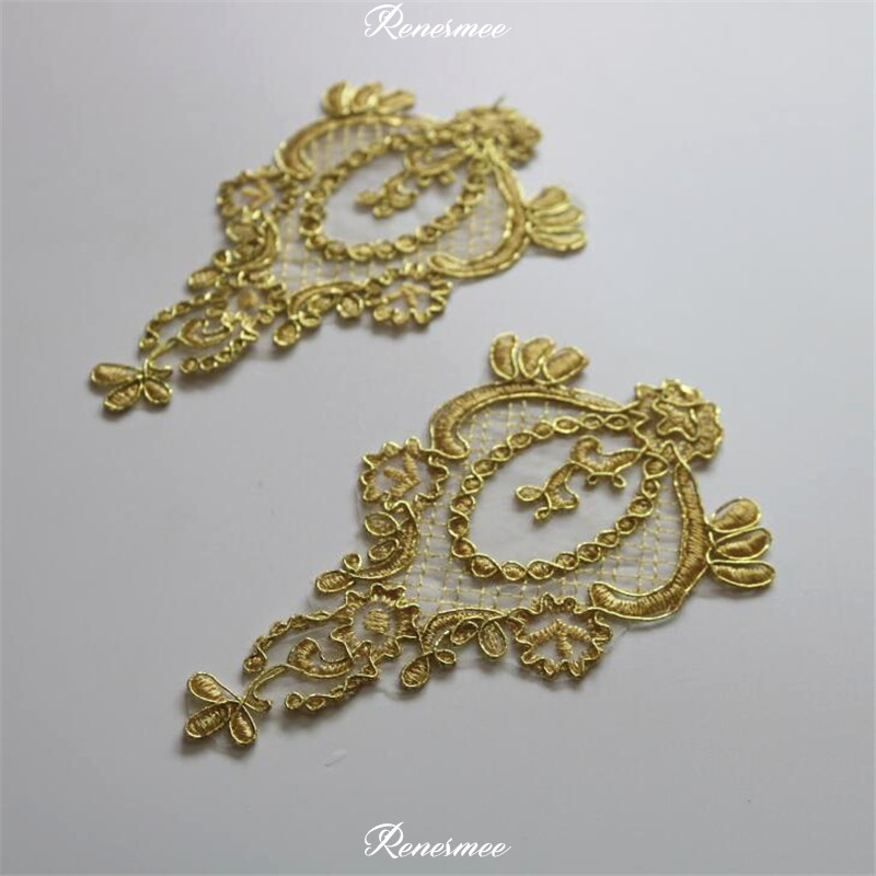 10Pcs Gold Colour Gold Cord Outline Venise Lace Appliques Embroider Patch Wedding Dress Lace Decoration DIY 15X9cm SX383