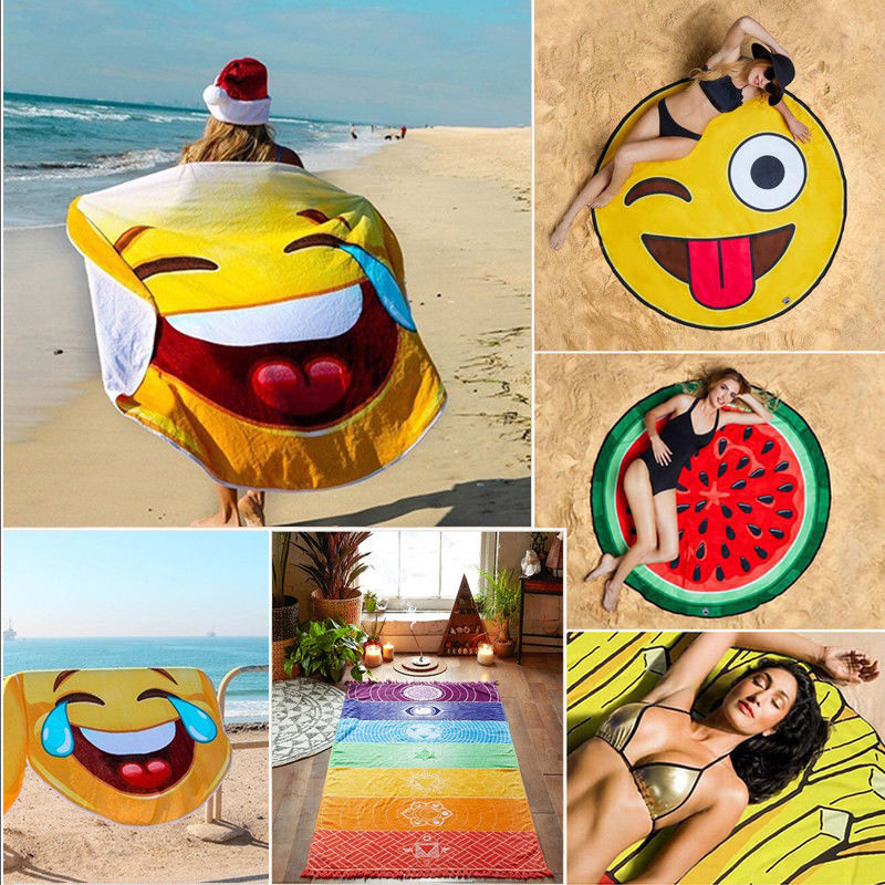 1PC Funny Round 3D Emoji Beach Blanket Sunbath Sunscreen Shawl   Scarf   Beach Pool Towel Blanket BBQ Picnic Fruit Mat