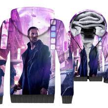 HAMPSON LANQE Blade Runner 3D Hoodies Sweatshirts Men 2019 Winter Short Jackets Fashion Thick Fleece Mens Streetwear For Fans