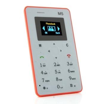 AEKU M5 1.0 Mini Telefone de Cartão de Emergência Telefone Com Carteira de Backup 4.5mm Ultrathin Low Radiation Phone meanit m5