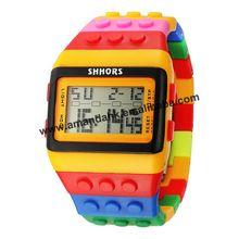 """100 шт/партия, модульные стильные электронные часы резиновые многоцветные радужные наручные часы """"Кубик"""" цифровой светодиодный день даты унисекс спортивные часы"""