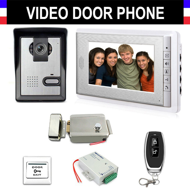 Video Intercom Doorbell 7'' LCD Wired Video Door Phone System 700TVL Outdoor IR Camera with Electric Lock Remote Control Unlock