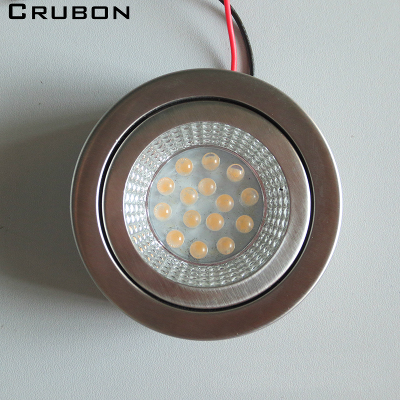 CRUBON 3pcs Lot LED Cabinet Lights Ultra Thin Round 220V Built In Drive Furniture Living Room