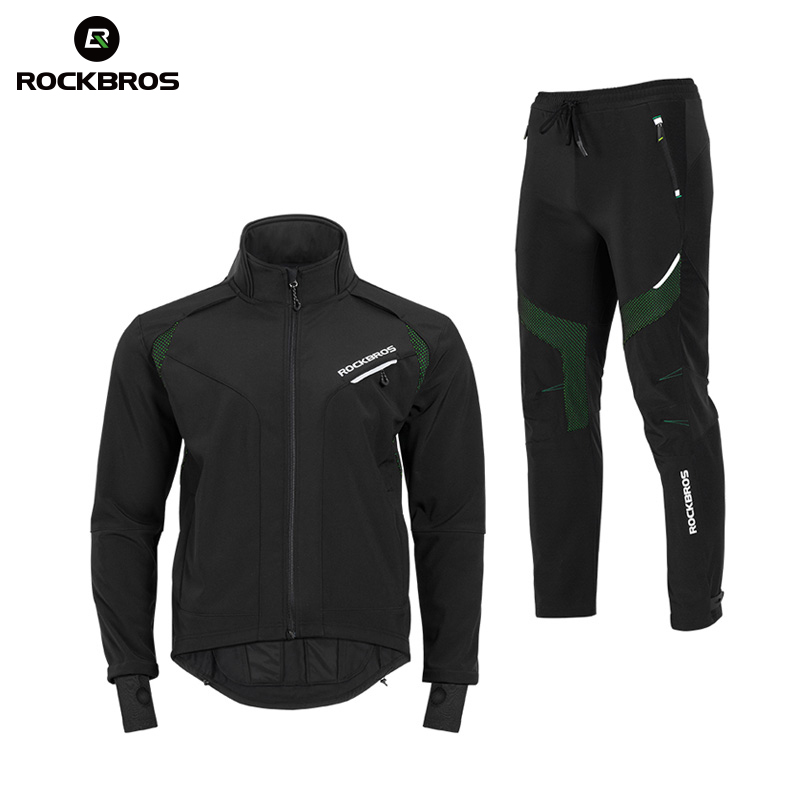 ROCKBROS Hiking Sets Winter Thermal Fleece Pants Jersey Windproof Reflective Climbing Jacket Trouser Sportswear Bicycle Suits