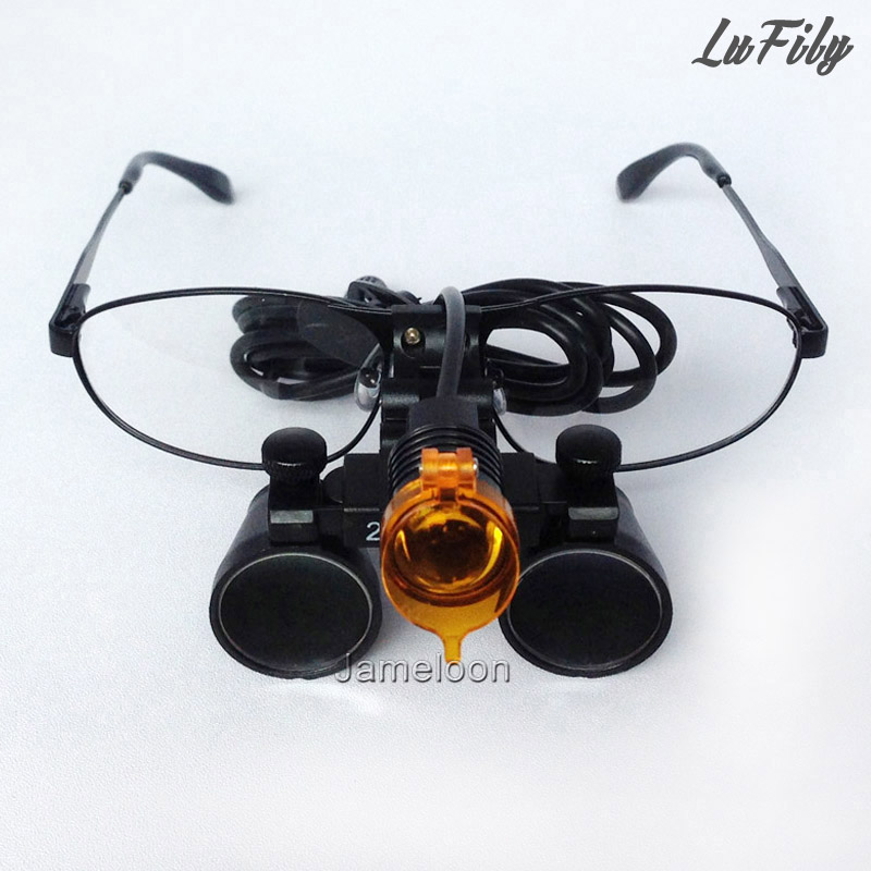 2 5X magnifying dental surgical loupe with LED light filtering light filter headlamp changeable glass oral