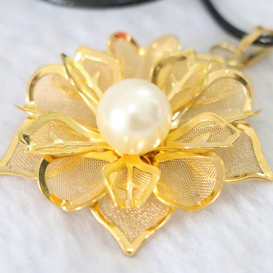Φ_ΦBelleza flor hoja colgante de oro de color redondo Shell perlas ...