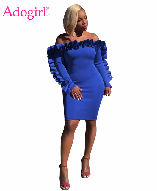3bc9ad865500c US $18.26 45% OFF|Adogirl 2018 New Chic Ruffle Off Shoulder Bodycon Dress  Sexy Slash Neck Long Sleeve Bandage Midi Party Dresses Vestidos Mujer-in ...