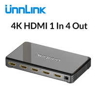 Répartiteur Unnlink HD mi 1X4 UHD4K @ 30Hz FHD1080P60 HD mi 1 en 4 pour projecteur de moniteur de smart tv LED mi box3 ps4 xbox one ordinateur