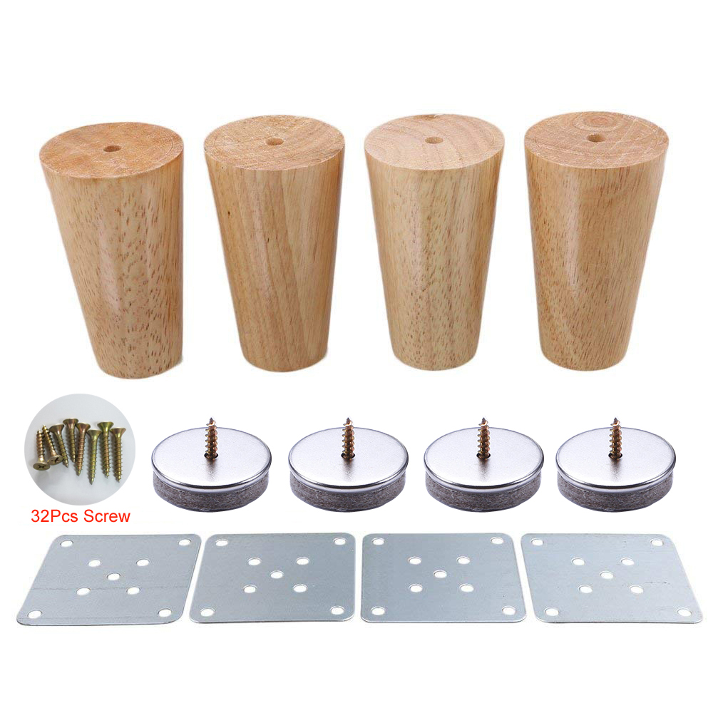 4 Piece 10cm Furniture Parts Sofa Legs Solid Wood Tapered Reliable Wood Furniture Tea Table Legs Sofa Feet With Screws and Mats4 Piece 10cm Furniture Parts Sofa Legs Solid Wood Tapered Reliable Wood Furniture Tea Table Legs Sofa Feet With Screws and Mats