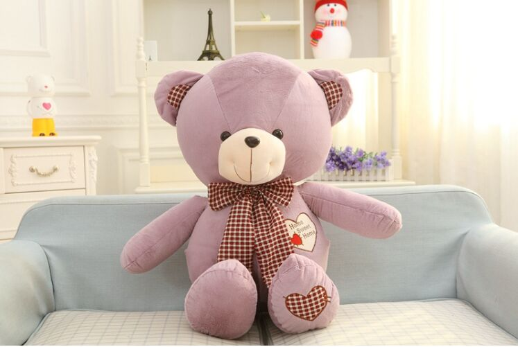 lovely purple teddy bear toy plush bow teddy bear heart bear doll gift about 80cm the lovely lying teddy bear doll blue stripe cloth plush bear toy gift toy about 80cm