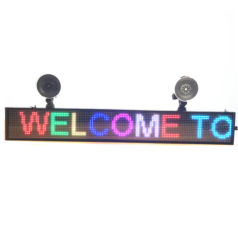 66cm RGB7 colors P5 Car LED SIGN Programmable Rolling Information LED Display Panel Display Multilingual Time Display +2 Sucker