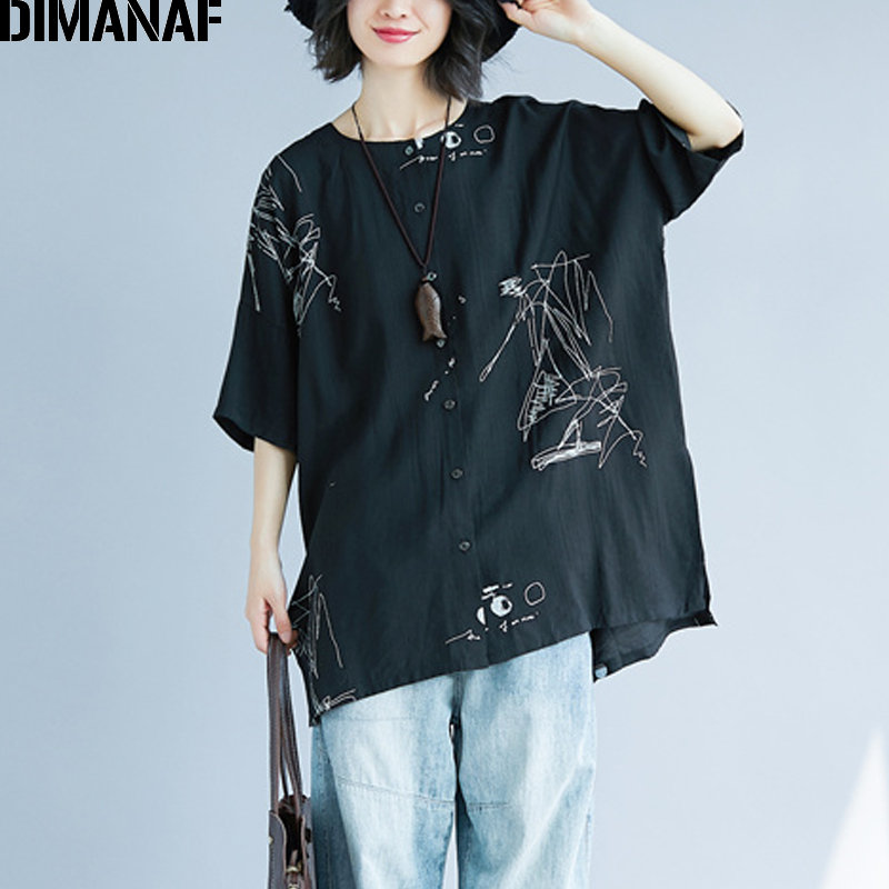 DIMANAF Women Summer Blouse Shirt Plus Size Print Linen Thin Basic Tops Femme Tee Casual Large Clothing Loose Soft Cardigan 2018 2