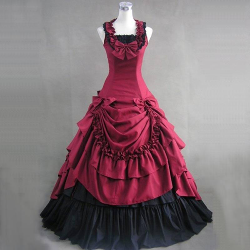 Pour 4 Couleurs Party Siècle 18th rouge Summer Ciel Princesse Gothique Coton rose pu Boule De Costumes 2018 Partie Robes Victorienne Robe Bleu Volants Femmes TxC0nq