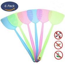 6 Pcs Fly Swatter Manual Swat Pest Control Plastic with Long Handle Assorted Sweet Colors2049