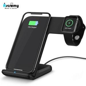 Image 1 - Ascromy iPhone X ve Apple Watch Kablosuz şarj doku Istasyonu iwatch 3 2 iPhone XS Max XR 8 Artı X S 11 Pro Indüksiyon Şarj
