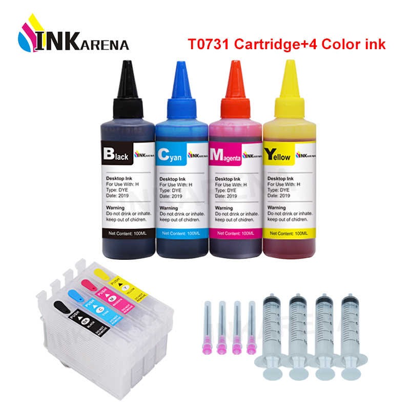 73 73N Isi Ulang Catridges untuk Epson T0731 Ink Cartridge CX3900 CX5900 CX4900 CX4905 CX3905 TX100 TX200 + 100 Ml Printer tinta Botol