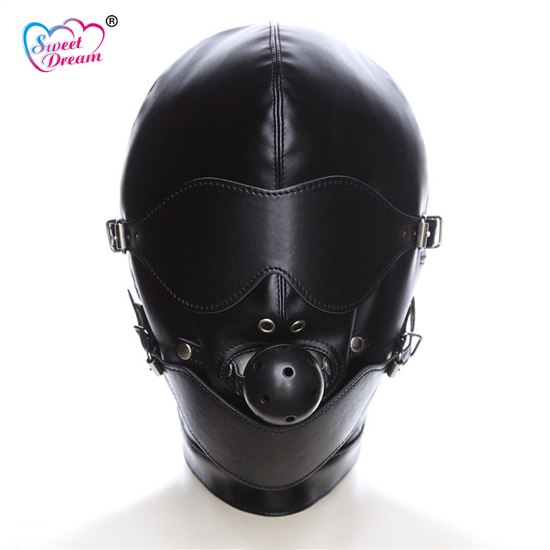 Buy Sweet Dream PU Leather Bondage Masks Hoods Mouth Gag Blindfold Adult Game Role Play Sex Toys Couples Sex Products DW-440