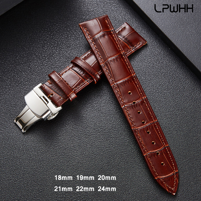 LPWHH Genuine Cow Leather Strap For Watch Band 20mm 18 19mm 21mm 22mm 24mm Brown Black Butterfly Soft Watchband Straps