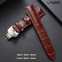 LPWHH Genuine Cow Leather Strap For Watch Band 20mm 18 19mm 21mm 22mm 24mm Brown Black Butterfly Soft Leather Watchband Straps цена