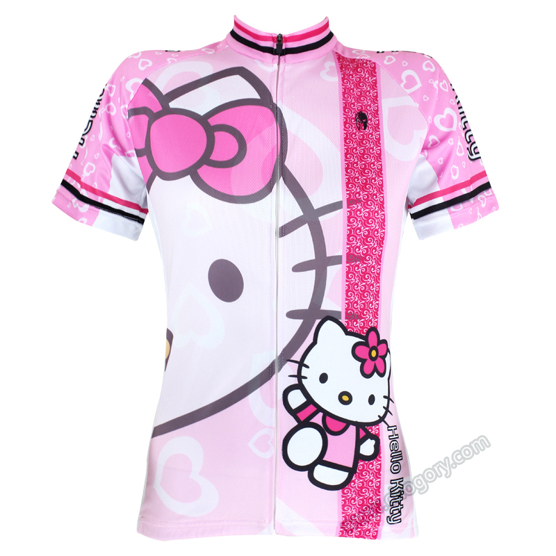 High Quality Hello Kitty Cycling Jerseys MTB Road Bike Clothes Short Sleeve Large Size Sports Jersey For Girls high quality hello kitty cycling jerseys mtb road bike clothes short sleeve large size sports jersey for girls