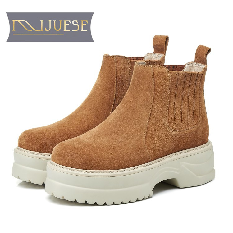 MLJUESE 2018 women ankle boots Cow Suede slip on Rome style strange heel winter short plush platform boots women Chelsea boots preppy style women s high heel boots with suede and slip on design