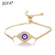 Juya pulseras mujer moda 2019 Luxury AAA Zircon Rhinestone Blue Turkish Evil Eye Bracelet Greek Charm Chain Bracelets Bangle