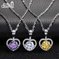 Effie Queen Brand Love Heart Pendant Necklace 2ct AAA Austrian Main Zircon + 28 Pieces Micro Zircon Paved Women Jewelry DAN007