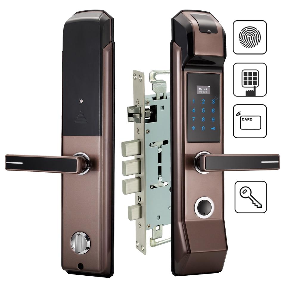 Security Electronic Fingerprint Door Lock Digital Keyless Keypad Combination M1 Card Key Smart Entry For Home