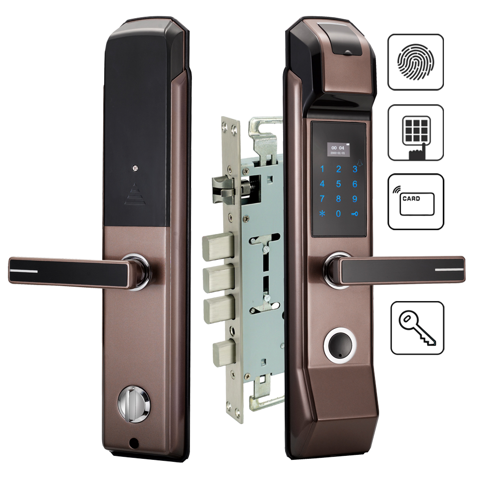 Security Electronic Fingerprint Door Lock Digital Keyless Keypad Combination M1 Card Key Smart Entry For Home Office digital electric best rfid hotel electronic door lock for flat apartment