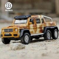 1:32 Горячая Продажа Дети сплав игрушка модель автомобиля Mercedes BRABUS AMG 6x6 бумеранг модели сплава мальчик подарки