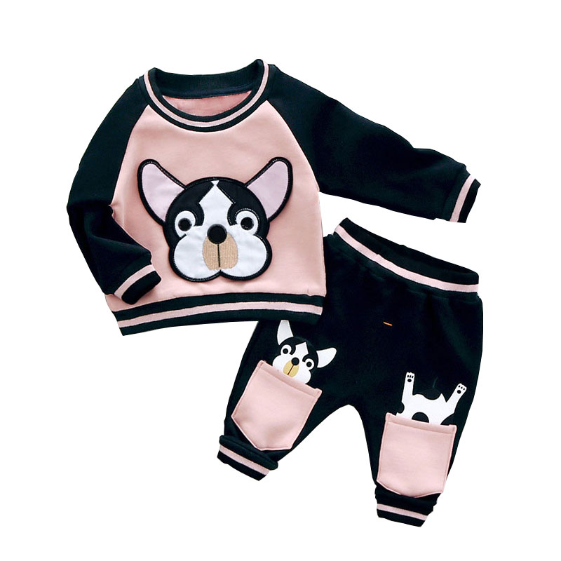 Baby Tracksuit Thick Cartoon Dog 2 Piece Kids Sportswear Boys Girls Sport Suit Children Set Toddler Winter Clothes Baby Outfits new winter baby hat real fur pom pom knitted toddler kid thick warm double raccoon fur balls beanies boys girls bonnet gorros f3