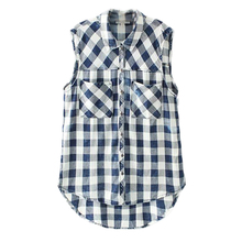 spring and summer season 2017 European fashion style all-match sleeveless shirt pocket Plaid double POLO straight shirt collar