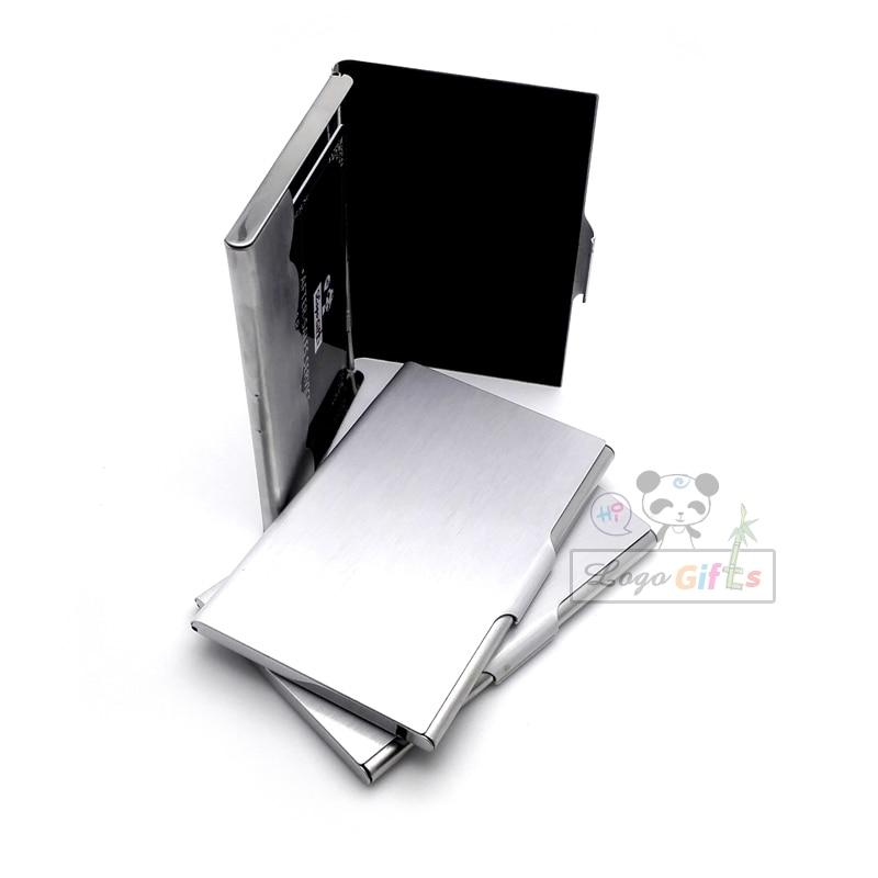 Klassische metall karton visitenkartenhalter fördernde karte box mit ihrem logo und telefon gravierte freies