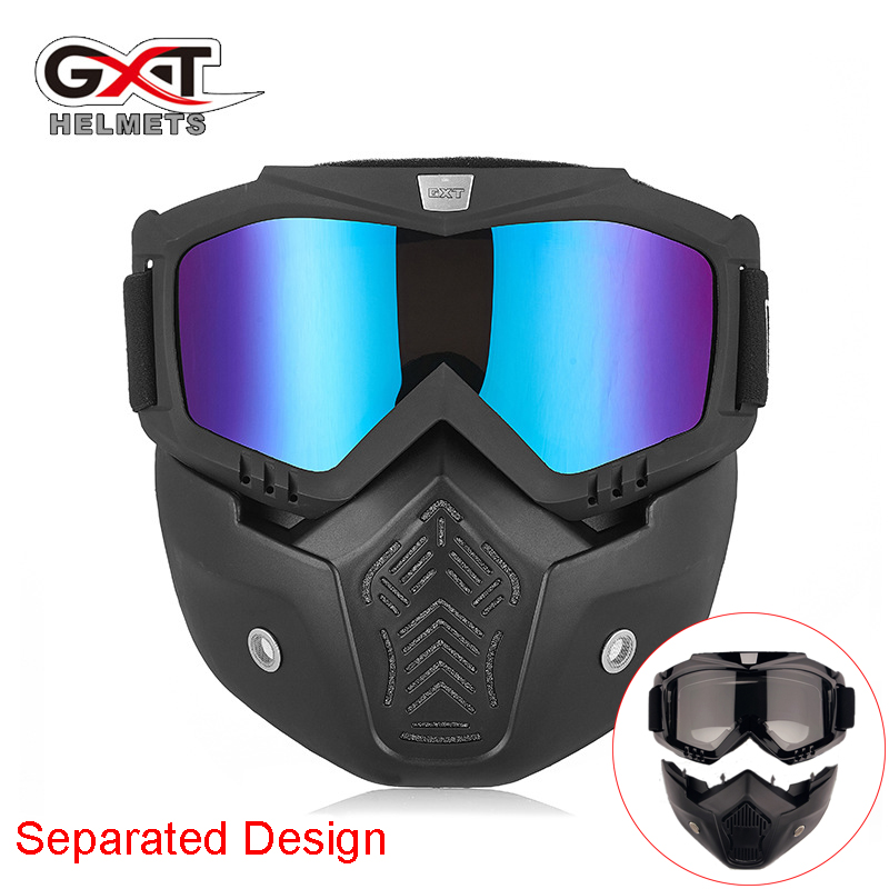 Winter Wind stopper Snowmobile Ski Goggles Separate Face Mask sand dust proof off road Motocross Helmet Glasses protective gear