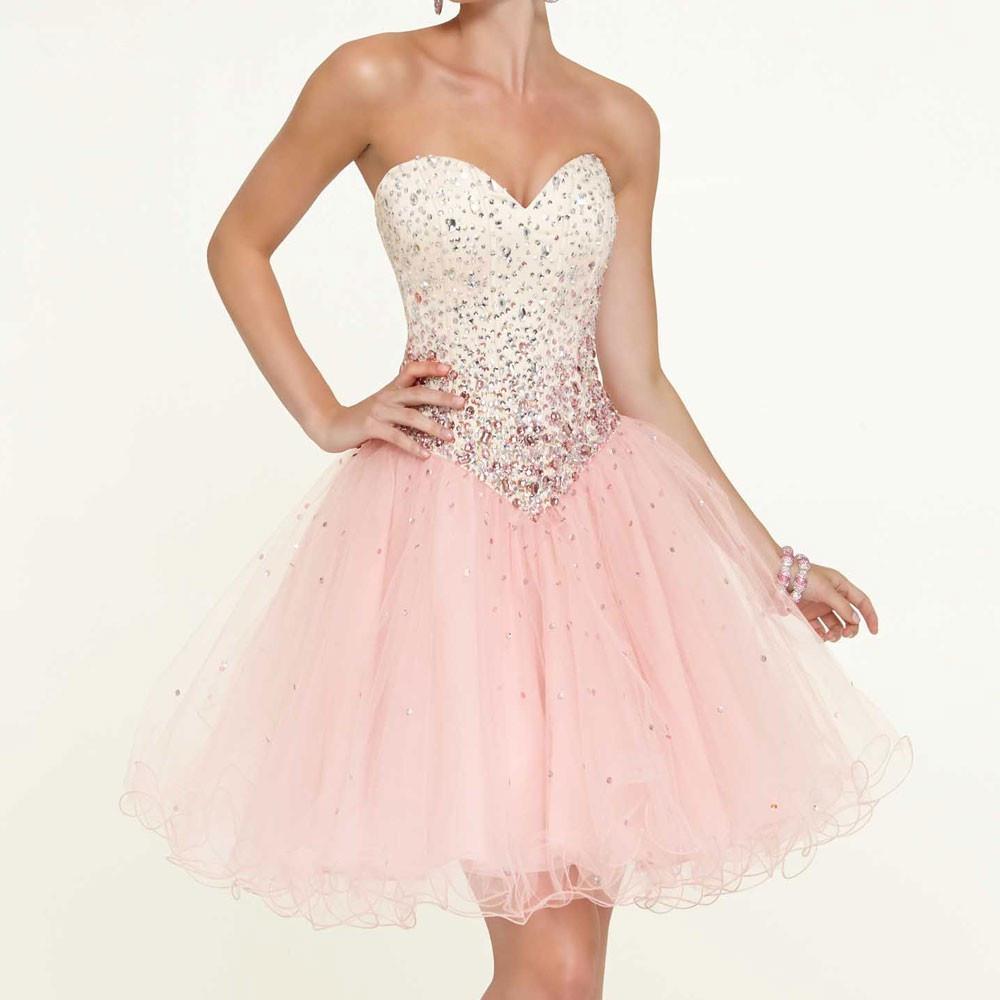 short   Prom     Dresses   2019 pink sweetheart crystal vestidos de gala sleeveless cheap   prom     dress   party gown Evening   dress