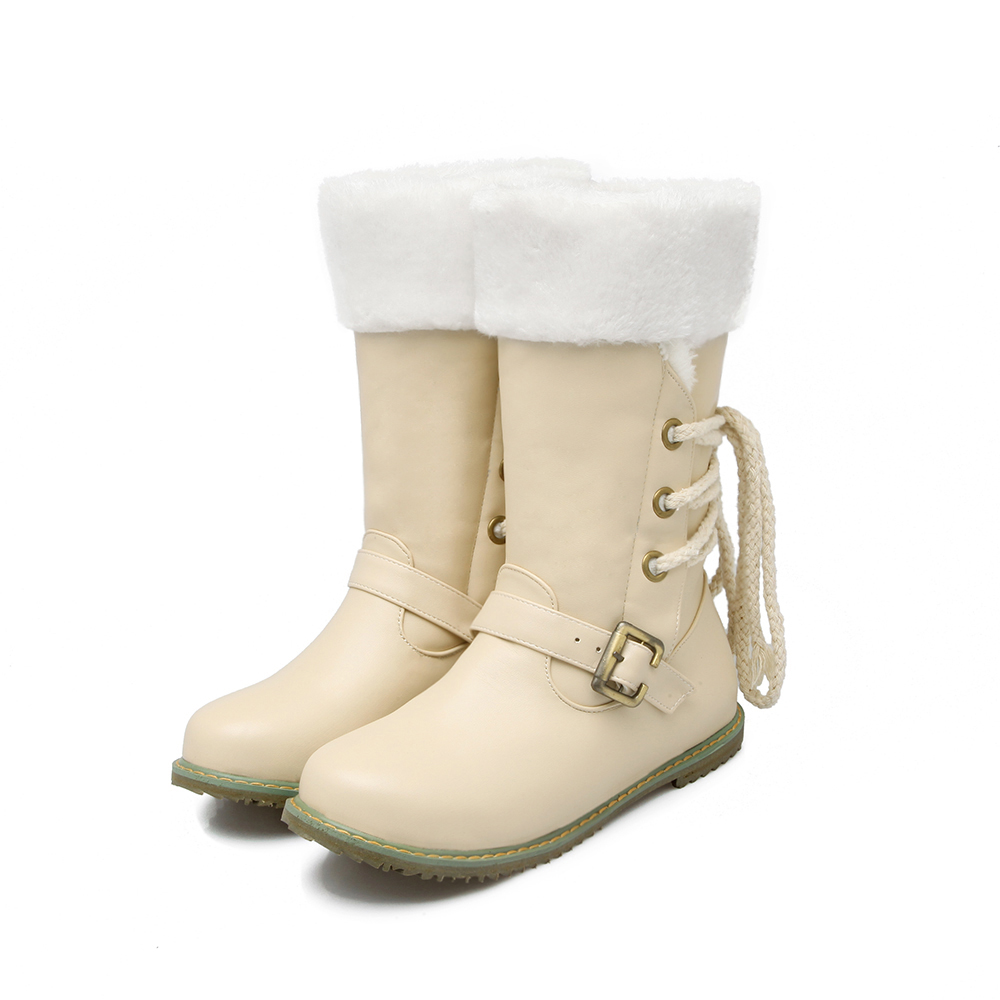 2017 Real Botas Mujer Snow Boots Big Size 34-52 New Round Toe Buckle Boots For Women Casual Heels Fashion Warm Winter Shoes 500 doratasia big size 34 43 women half knee high boots vintage flat heels warm winter fur shoes round toe platform snow boots