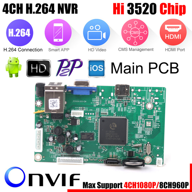 Mini Nvr Board 1080P 4CH Security Network Recorder Board 4CH 1080P / 8CH 960P Onvif E mail Alert bewegingsdetectie Met Hdd Kabelboard boardboard cable
