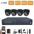 LOFAM 1080N 4CH AHD kit DVR 1080 P HDMI DVR CCTV Sistema 4 pcs 800TVL IR Indoor dome CCTV camera kit de 4 canais de vídeo survelliance