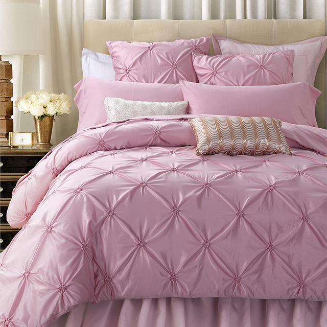 Sunnyrain 4 6 Pieces Handwork Pinch Pleats Luxury Bedding Set King