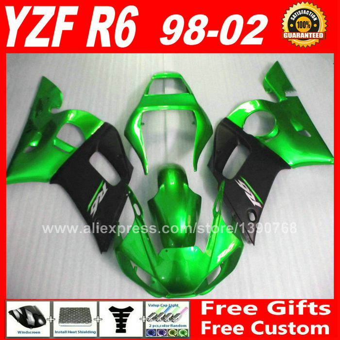 Fairing kit for YAMAHA R6 1998 2002 YZFR6 1999 2000 2001 Metallic green body parts yzf r6 98 99 00 01 02 fairings kits H6F1