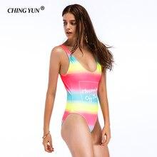 CHING YUN 2019 New Sports Sexy Swimwear Women Swimsuit Soft Cup Mesh Solid Patchwork Stripe Swim Suit U-Shaped Back