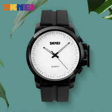 купить SKMEI Big Dial Men Quartz Watches Luxury Silicone PU Strap Waterproof Fashion Casual Wristwatches Relogio Masculino Business по цене 977.4 рублей