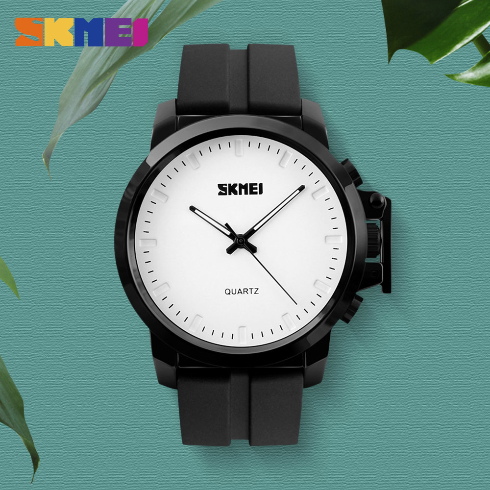 SKMEI Big Dial Men Quartz Watches Luxury Silicone PU Strap Waterproof Fashion Casual Wristwatches Relogio Masculino Business