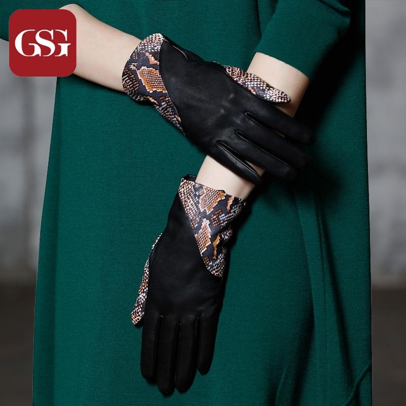 Gratë e Modës Prekje Doreza Lëkurësh Lëkurë Patched Snake - Aksesorë veshjesh