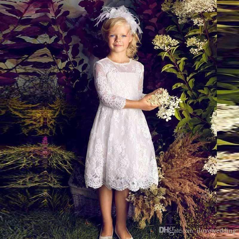 2017 Flower Girl Dresses for Weddings Cute Long Sleeve A Line Knee length Little Girls Pageant Party Gowns Communion Dress FH51