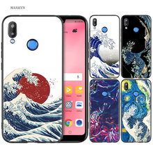 Silicone Case Cover for Huawei P20 P10 P9 P8 Lite Pro 2017 P Smart+ 2019 Nova 3i 3E Phone Cases Wave Art Japanese Green Illust(China)