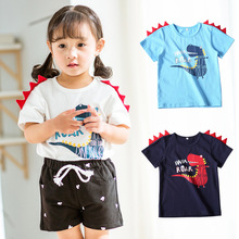 Low Price Clearance Dinosaur Boys Girls T-shirt Short Sleeve Casual Tshirt Summer Tops for 2-8 Years Old Kids Blue