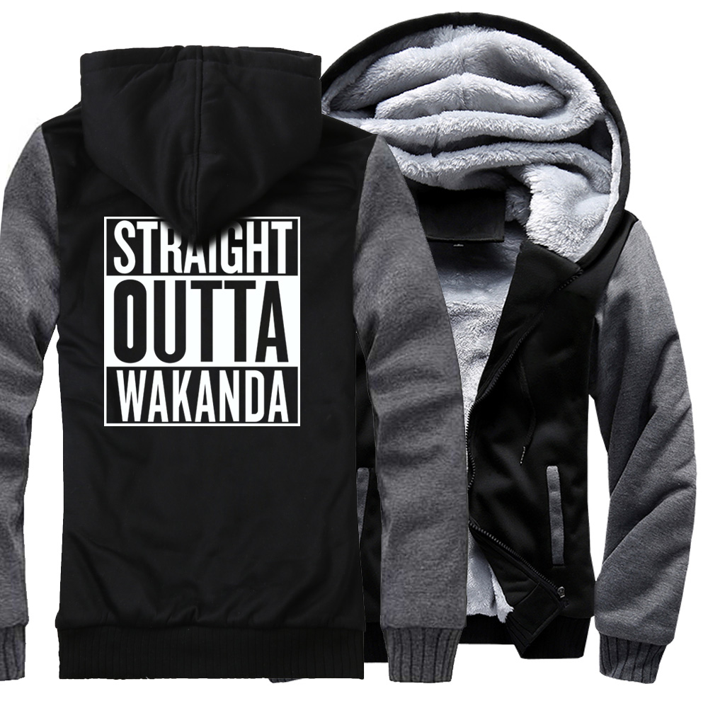 Black Panther Sweatshirt For Men 2018 Autumn Winter Jacket Coat Straight Outta Wakanda Hip Hop Men's Sweatshirt Zipper Jackets