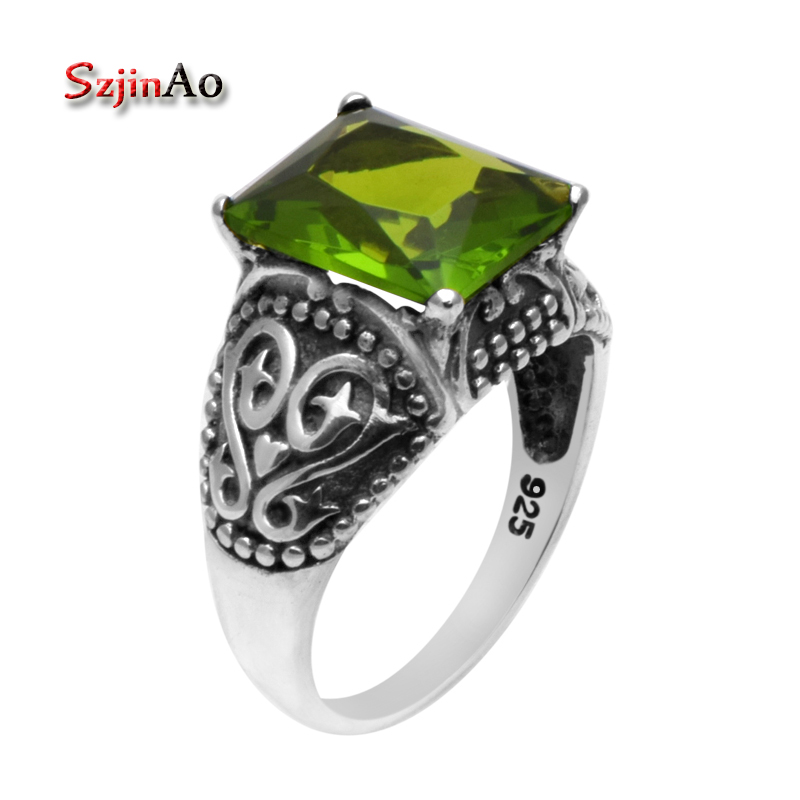 Szjinao Fashion 925 Sterling Silver Ring Bohemian Antique Jewelry High Quality 925 Sterling Silver Peridot Rings for Women
